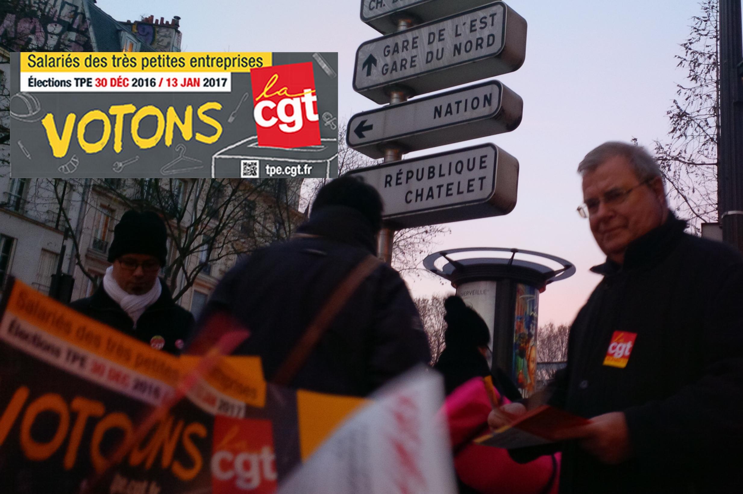 UL CGT PARIS 19 LE 9 DÉCEMBRE 2016 DIFFUSION DE TRACTS AVENUE JEAN JAURÈS POUR LA CAMPAGNE TPE 2016