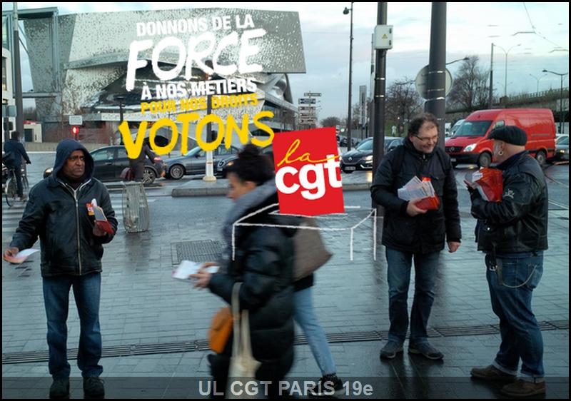 Distribution des tracts porte de Pantin pour les élections dans les très petites entreprises, avec le secrétaire général de l'UD CGT de Paris Benoît Martin
