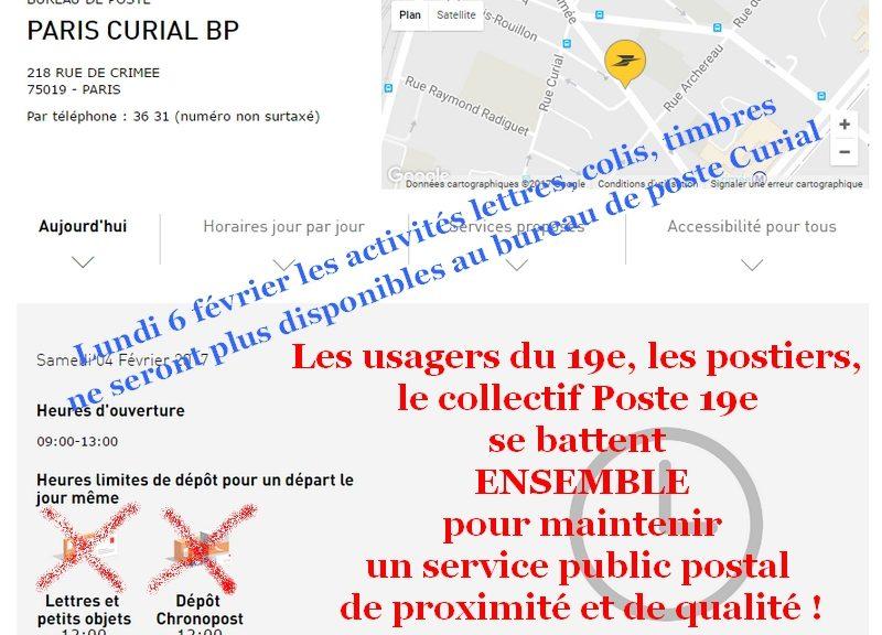 Non à la fermeture du bureau de poste Curial