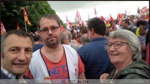 Militant-e-s de l'UL CGT du 19e au rassemblement du mardi 27 juin aux Invalides